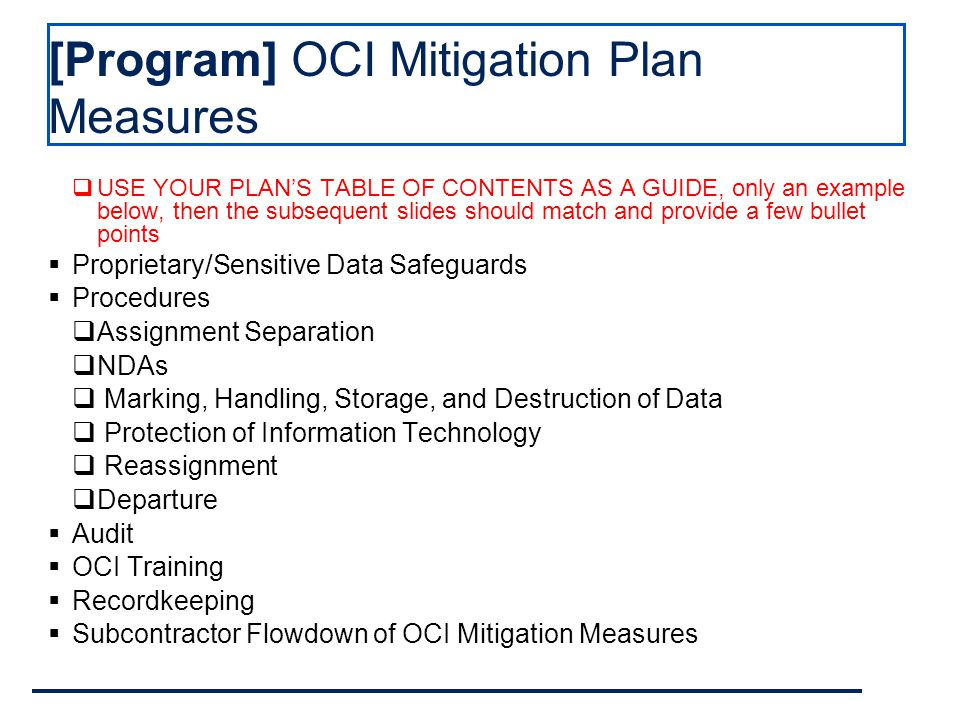 Oci Mitigation Plan Template Plan Template